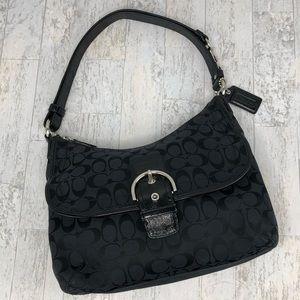 COACH BLACK JACQUARD SHOULDER BAG